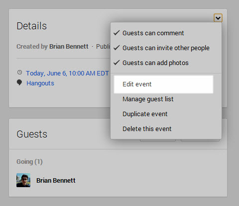 In your Google+ Events, click on carrot in the top-right corner of the Details card.