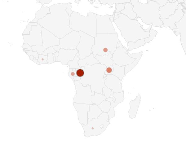 Confirmed Ebola virus deaths in Africa, 1976 - 2012.