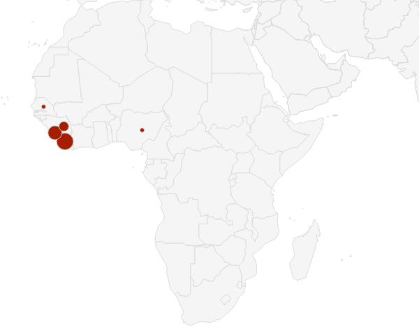 Confrmed Ebola virus deaths, 2014.