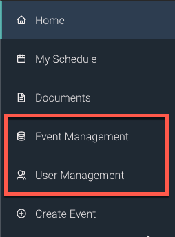 A navigation menu with 'Home', 'My Schedule', 'Documents', 'Event Management', 'User Management', and 'Create Event' listed as choices.