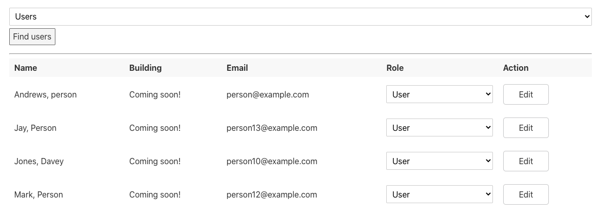 A list of users with their name, location, email, and role. Each user has an Edit button available to the SuperAdmin.
